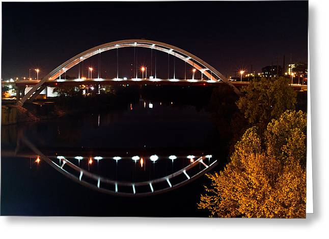 Tennessee River Greeting Cards - Nashville Bridge By Night 7 Greeting Card by Douglas Barnett