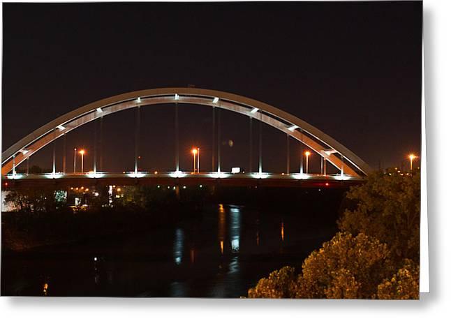 Tennessee River Greeting Cards - Nashville Bridge By Night Greeting Card by Douglas Barnett