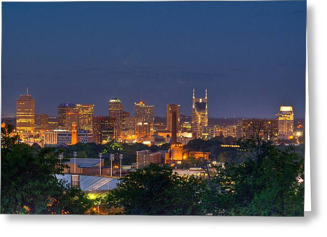 Nashville Tennessee Greeting Cards - Nashville by Night 2 Greeting Card by Douglas Barnett
