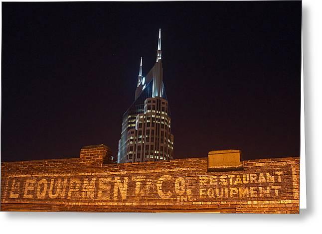 Nashville Downtown Night Scene Greeting Card by Douglas Barnett