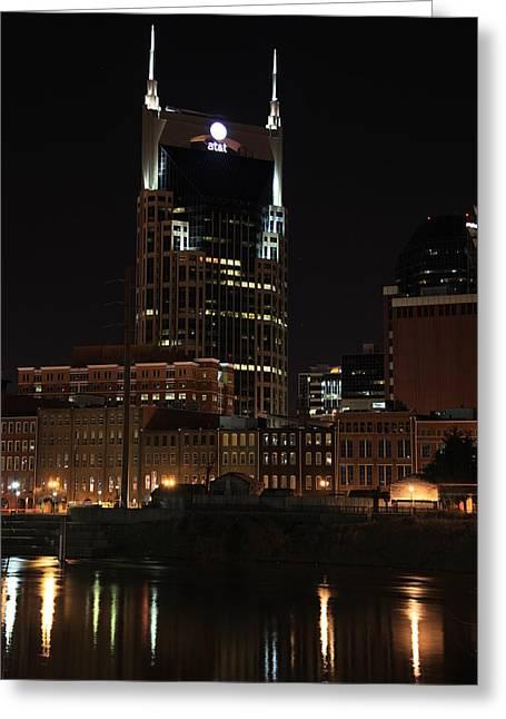 Nashville Skyline At Night Greeting Card by Sam Amato