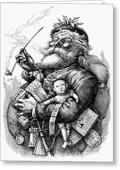 Recently Sold -  - Nast Greeting Cards - Nast: Santa Claus, 1880 Greeting Card by Granger