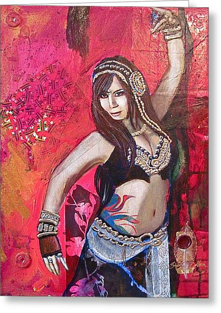 Tribal Belly Dance Greeting Cards - Natalie Phoenix Greeting Card by Stephanie Bolton