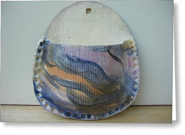 Textured Ceramics Greeting Cards - Natalies wall vase Greeting Card by Julia Van Dine