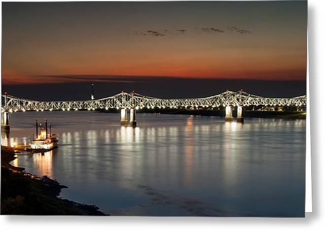 Natchez-vidalia Bridge Greeting Card by Sandy Dimke