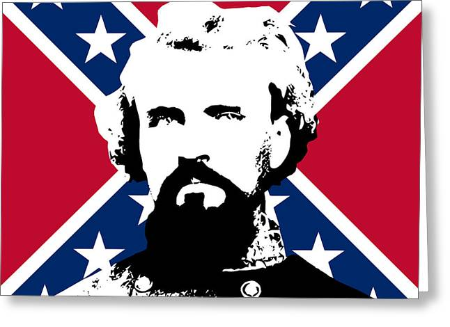 Confederate Digital Art Greeting Cards - Nathan Bedford Forrest and The Rebel Flag Greeting Card by War Is Hell Store