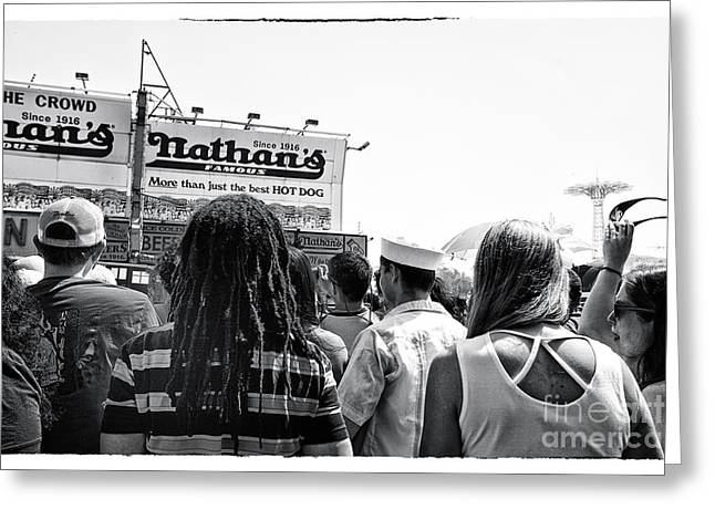 Nathans Greeting Cards - Nathans Crowd in Coney Island 2 Greeting Card by Madeline Ellis