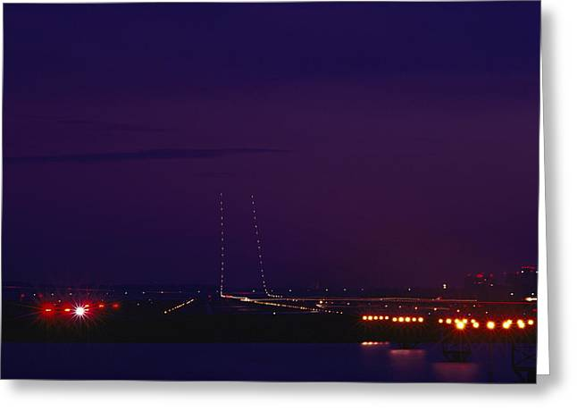 National Commercial Greeting Cards - National Airport Runway At Night Greeting Card by Medford Taylor