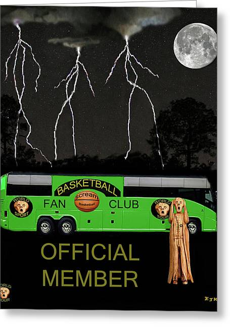 Official Member Mixed Media Greeting Cards - National Basketball Greeting Card by Eric Kempson