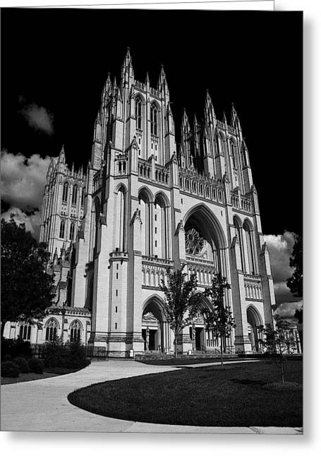 Black Mass Greeting Cards - National Cathedral Greeting Card by Joe Hickson