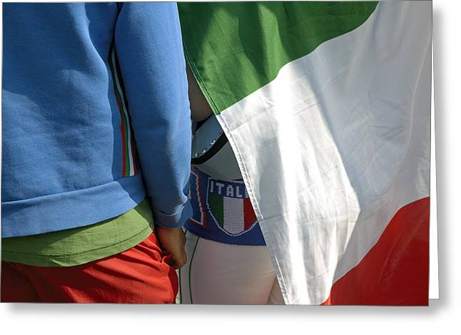 Ensign Greeting Cards - National colors of italy - green white and red Greeting Card by Matthias Hauser