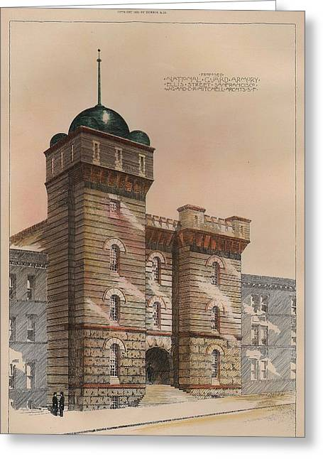 Armory Greeting Cards - National Guard Armory on Ellis Street San Francisco California Greeting Card by Charles Mitchell