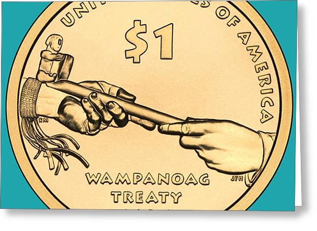 Treaty Greeting Cards - Native American Coin Greeting Card by Paul Ward