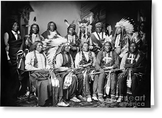 Chief Iron Tail Greeting Cards - Native American Delegation, 1877 Greeting Card by Granger