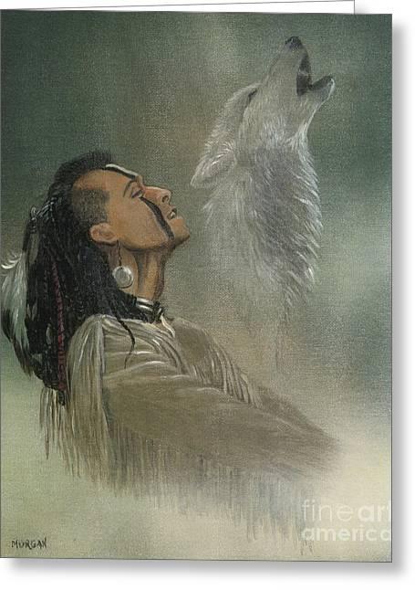Landmarks Mixed Media Greeting Cards - Native American Indian Greeting Card by Morgan Fitzsimons