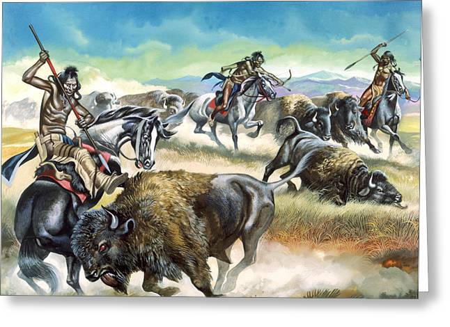 American Bison Greeting Cards - Native American Indians killing American Bison Greeting Card by Ron Embleton