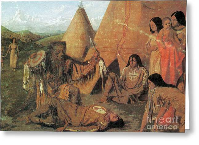 Native American Medicine Man Greeting Card by Photo Researchers