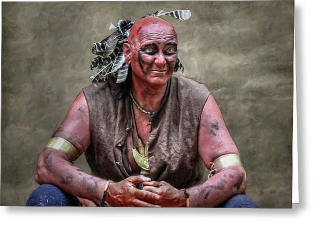 Reenactor Greeting Cards - Native American Reenactor Portrait Greeting Card by Randy Steele