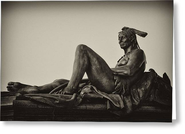 Eakins Oval Greeting Cards - Native American statue - Eakins Oval Philadelphia Greeting Card by Bill Cannon