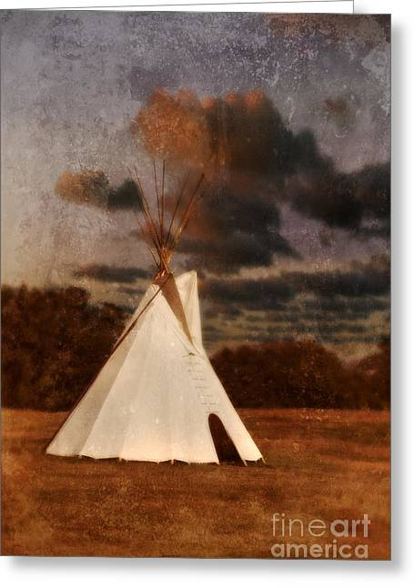 Native American Dwellings Greeting Cards - Native American Tepee Greeting Card by Jill Battaglia