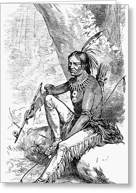 1876 Greeting Cards - Native American With Pipe Greeting Card by Granger