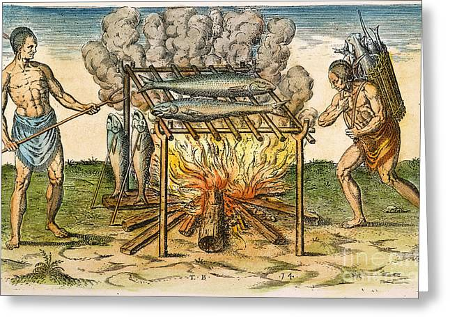 World Of Food Greeting Cards - Native Americans: Barbecue, 1590 Greeting Card by Granger
