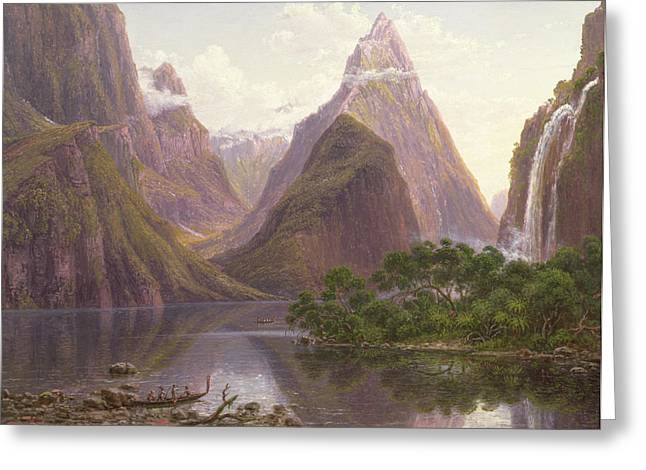 1811 Greeting Cards - Native figures in a canoe at Milford Sound Greeting Card by Eugen von Guerard