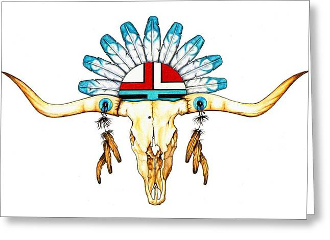 Colour Pencil Greeting Cards - Native Guide Greeting Card by Sheryl Unwin