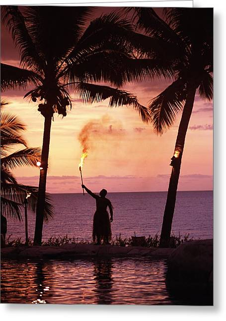 Evening Dress Greeting Cards - Native In A Grass Skirt Holding A Greeting Card by Axiom Photographic