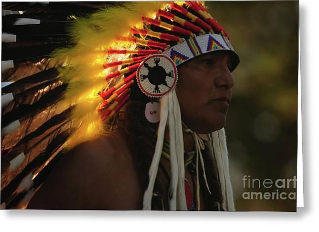 Fancy-dancer Greeting Cards - Native In Headdress Greeting Card by Susana Bonadea