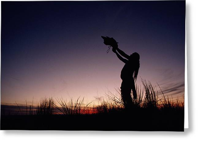 Reverence Greeting Cards - Native North American Holding An Greeting Card by Chris Johns