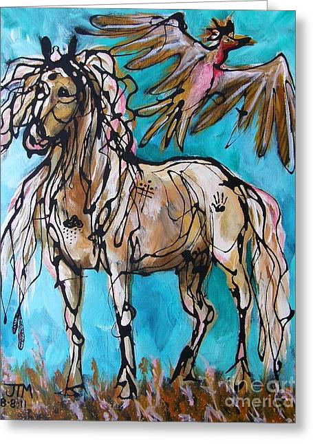 Paso Fino Stallion Greeting Cards - Native Rain Flyer Greeting Card by Jonelle T McCoy