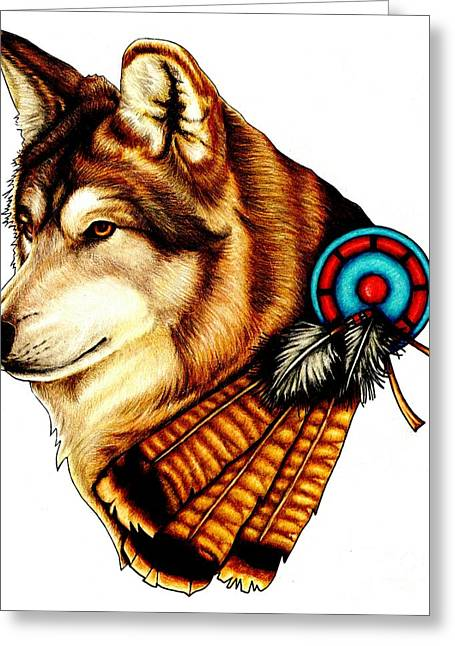 Colour Pencil Greeting Cards - Native Spirit Greeting Card by Sheryl Unwin