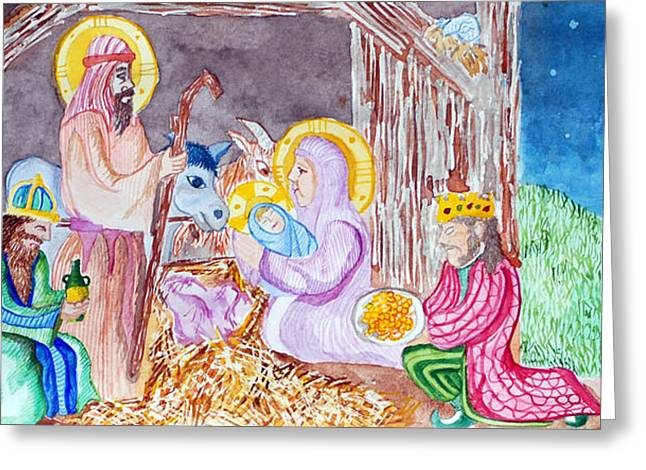Jame Hayes Paintings Greeting Cards - Nativity Greeting Card by Jame Hayes