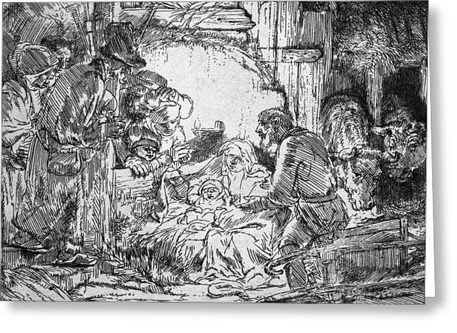Adoration Of The Shepherds; Shepherd; Infant Jesus Christ; Baby; Child; Joseph; Virgin Mary; Madonna; Holy Family; Stable; Manger; Ox; Oxen; Straw Greeting Cards - Nativity Greeting Card by Rembrandt