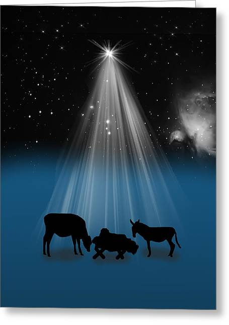 Nativity And Christmas Star Greeting Card by Delores Knowles