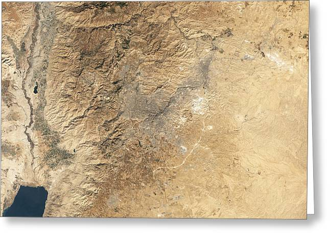 Natural-color Satellite View Of Amman Greeting Card by Stocktrek Images