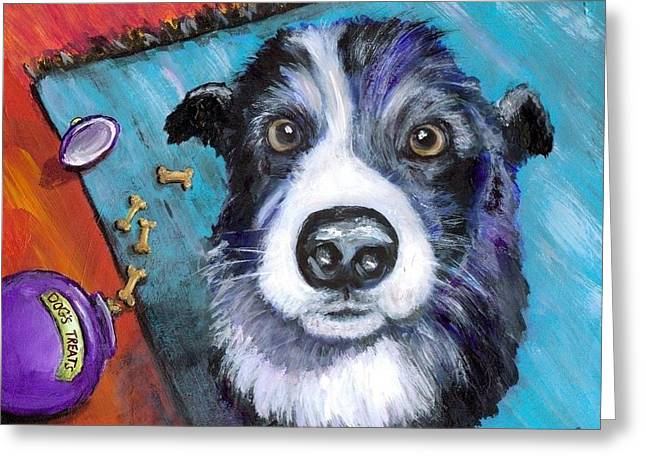 Collie Greeting Cards - Naughty Border Collie Greeting Card by Dottie Dracos