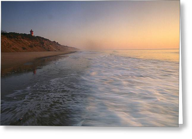 Soft Light Greeting Cards - Nauset Light On The Shoreline Of Nauset Greeting Card by Michael Melford