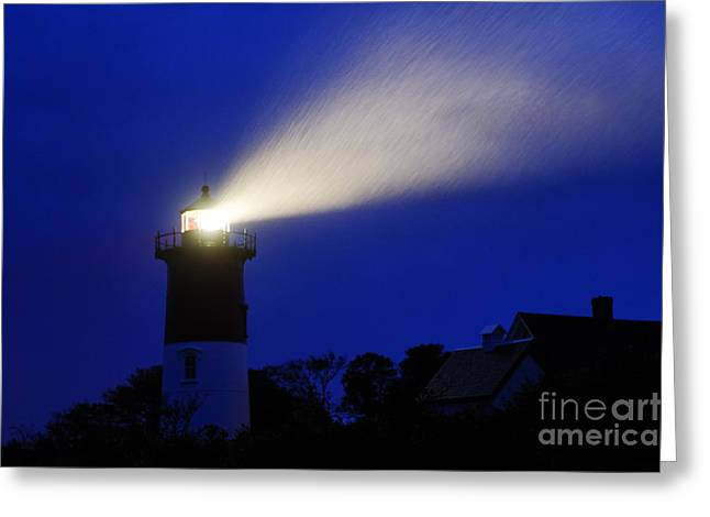 Cape Cod National Seashore Greeting Cards - Nauset Light Storm Greeting Card by John Greim