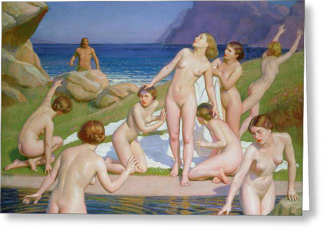 Naked Men Greeting Cards - Nausicaa Greeting Card by William McGregor Paxton