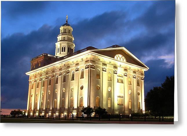 Salt Lake City Temple Greeting Cards - Nauvoo Temple Greeting Card by John Wunderli