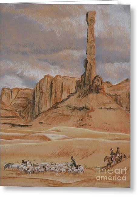 Formation Pastels Greeting Cards - Navajo Shepherds Beneath the Totem Rock Greeting Card by Kathryn Yoder