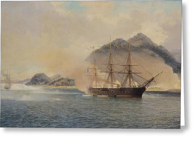 Naval History Greeting Cards - Naval Battle of the Strait of Shimonoseki Greeting Card by Jean Baptiste Henri Durand Brager