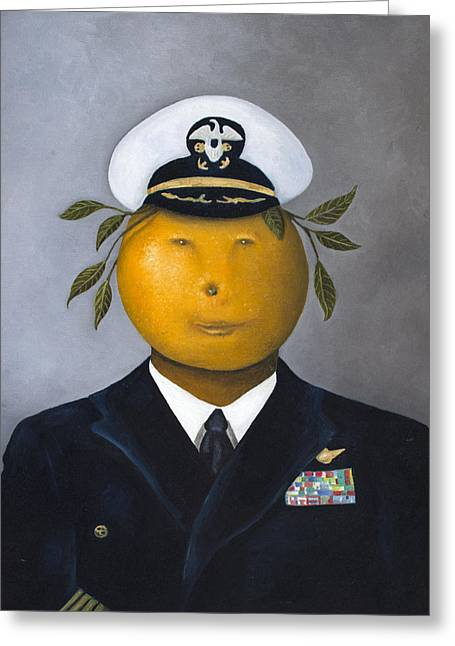 Beer Paintings Greeting Cards - Naval Officer Greeting Card by Leah Saulnier The Painting Maniac