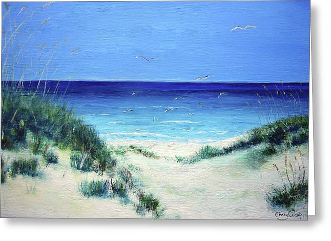 Sand Dunes Paintings Greeting Cards - Navarre Sandunes1 Greeting Card by Tracy Crosby
