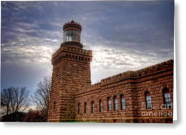 Habor Greeting Cards - Navesink Twin Lighthouse Greeting Card by Paul Ward