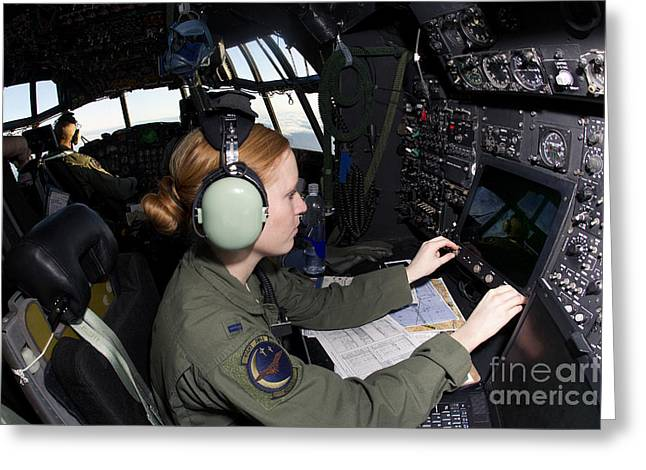 Command Center Greeting Cards - Navigator At Work In A Mc-130p Combat Greeting Card by Gert Kromhout