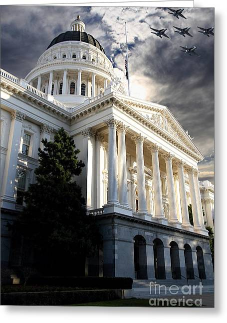Schwarzenegger Greeting Cards - Navy Blue Angels Flying Over The California State Capitol . 7D11771 Greeting Card by Wingsdomain Art and Photography