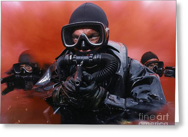 Digitally Enhanced Greeting Cards - Navy Divers On A Training Greeting Card by Andrew Chittock